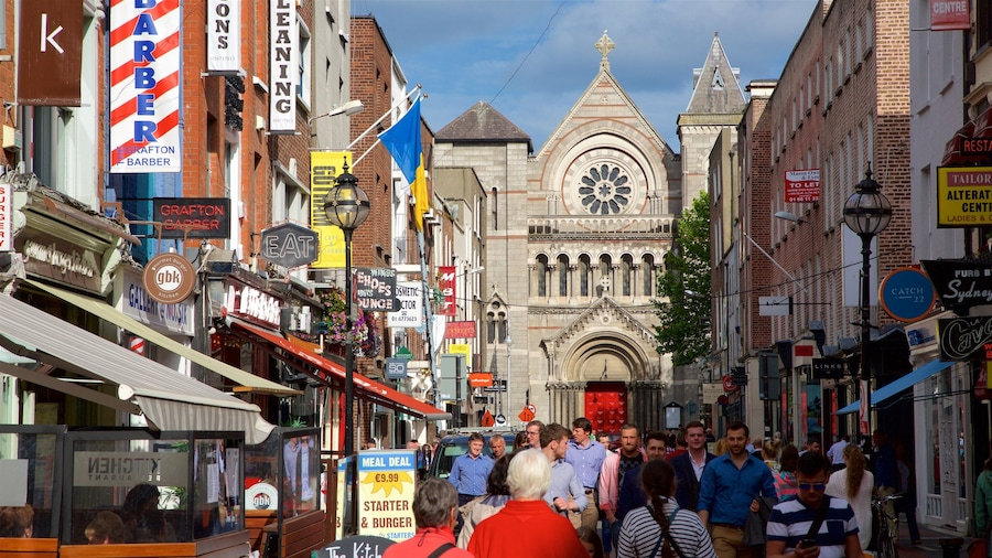 Dublin showing heritage architecture, signage and a city