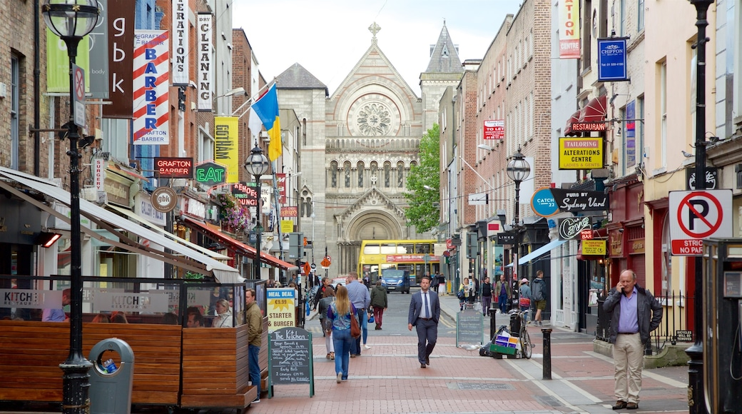 Dublin showing signage, a church or cathedral and religious elements