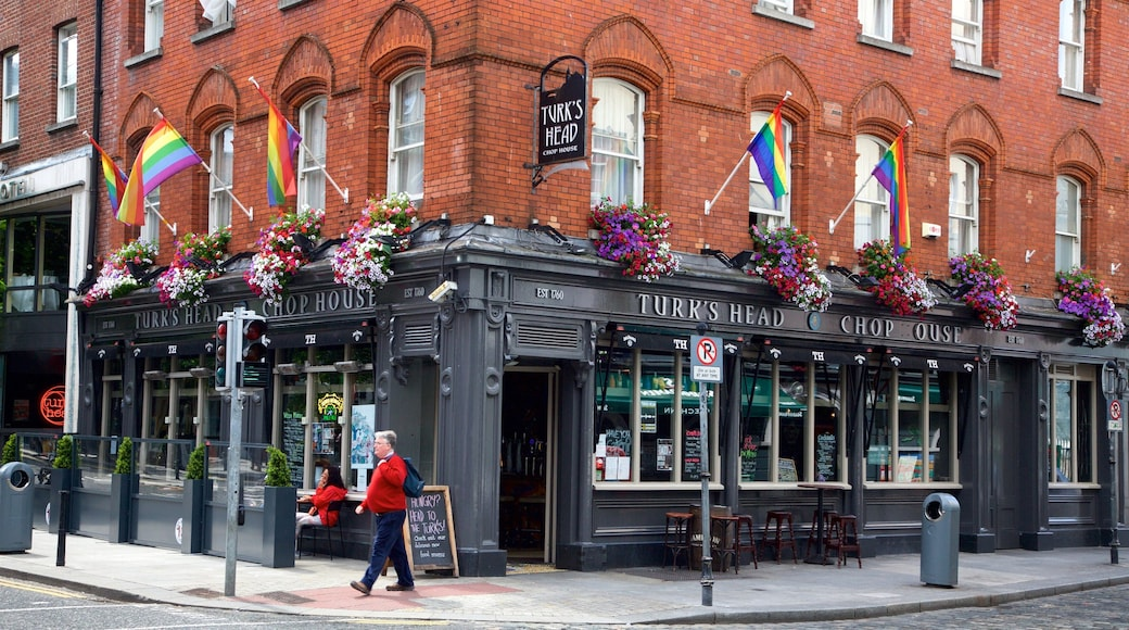Dublin which includes dining out, cafe lifestyle and street scenes