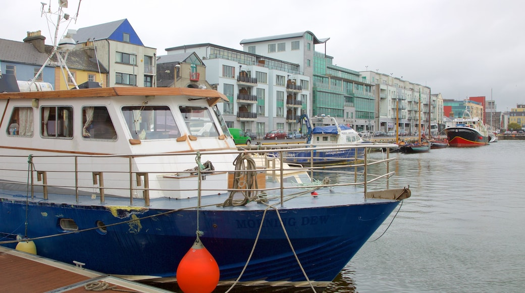 Galway Harbour showing boating, a marina and a river or creek