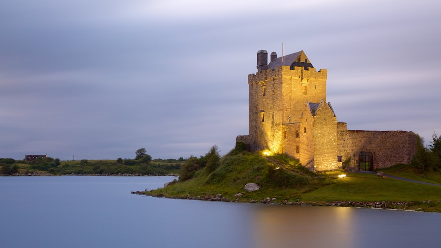 Dunguaire Castle showing heritage elements, a river or creek and heritage architecture