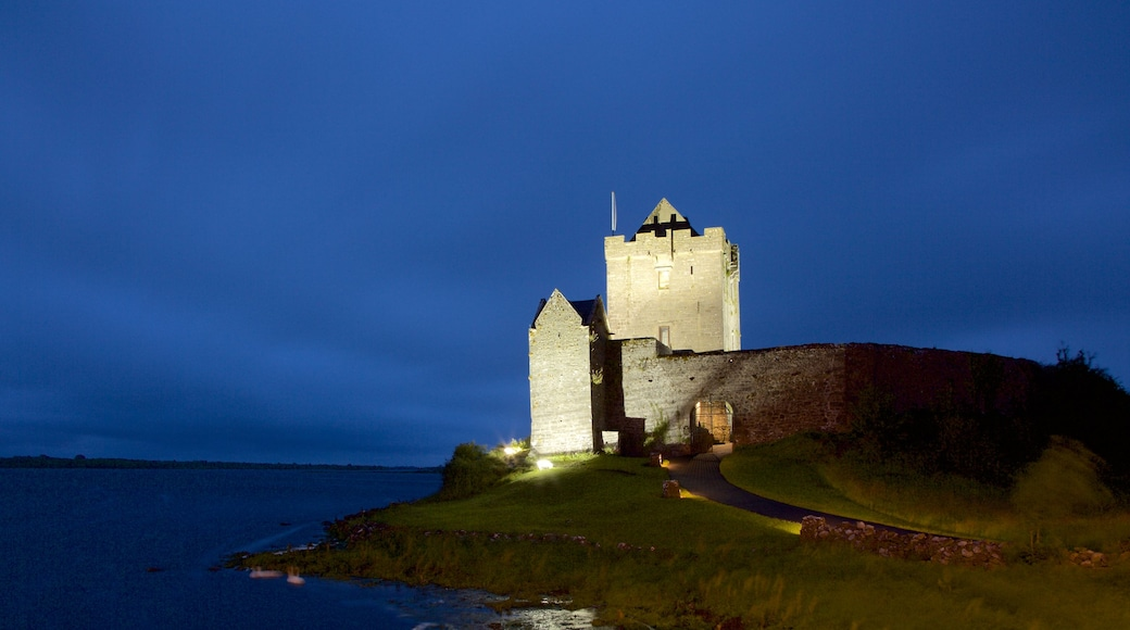 Dunguaire Castle which includes a river or creek, a castle and heritage elements