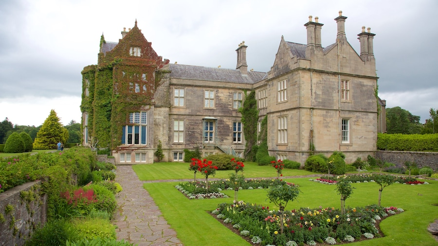Muckross House which includes a garden, heritage elements and flowers
