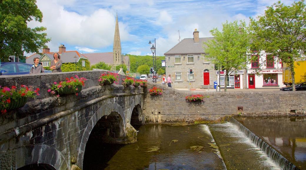 Westport showing a bridge, heritage elements and flowers