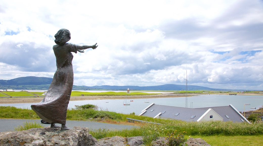 Rosses Point showing a bay or harbor, landscape views and a statue or sculpture