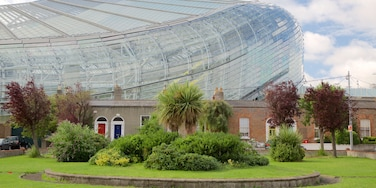 Aviva Stadium which includes a park, heritage architecture and modern architecture