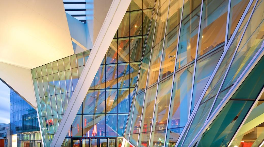 Bord Gais Energy Theatre which includes modern architecture, a city and theatre scenes