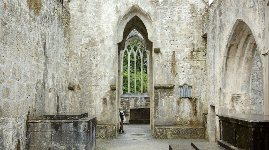 Muckross Abbey featuring heritage architecture, interior views and château or palace