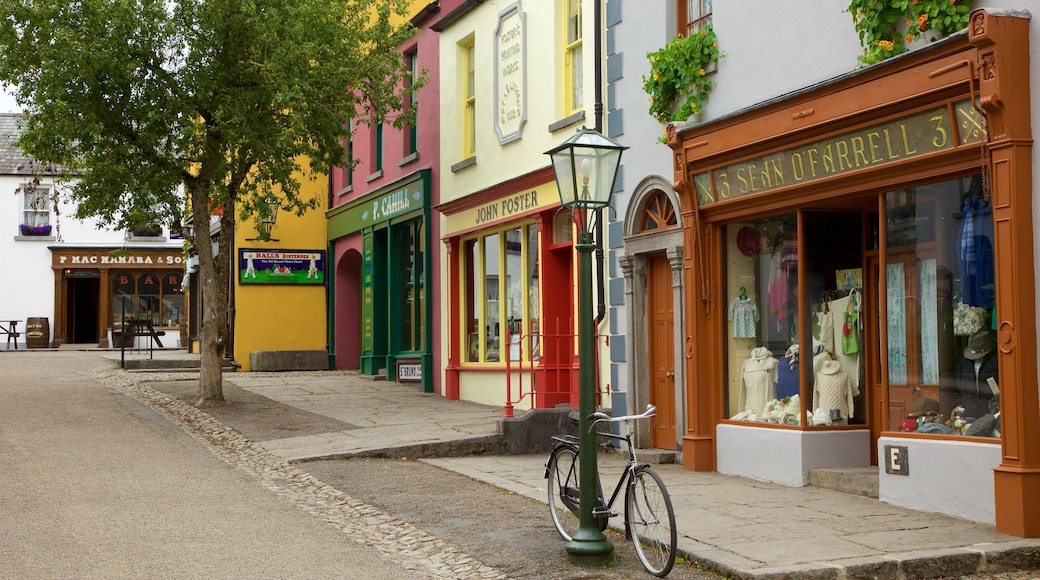 Bunratty Castle and Folk Park showing signage, street scenes and heritage elements