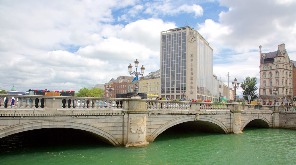 O\'Connell Bridge featuring a city, a river or creek and a bridge