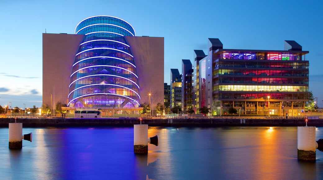 The Convention Centre Dublin featuring a city, modern architecture and a river or creek