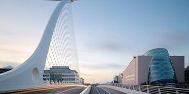 Dublin som visar modern arkitektur, en bro och nattliv