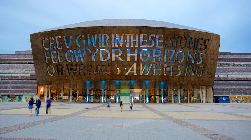 Wales Millennium Centre which includes signage, modern architecture and a square or plaza