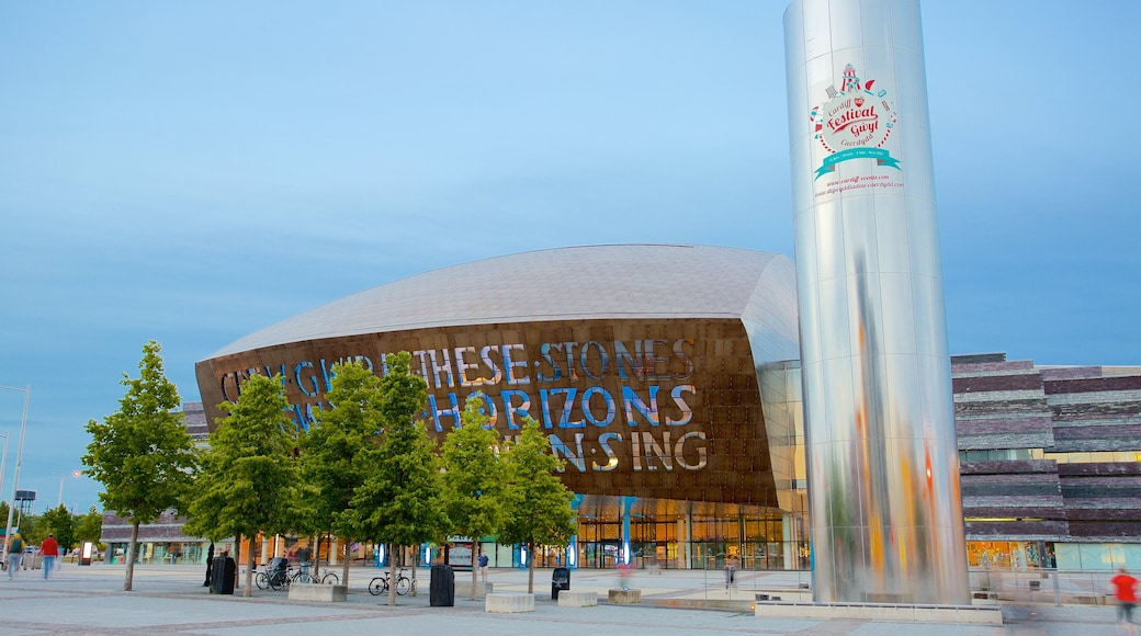Wales Millennium Centre featuring modern architecture, a city and a square or plaza