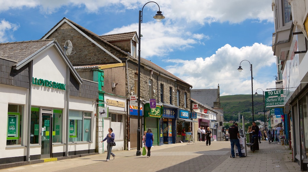 Rhondda Valley featuring street scenes as well as a small group of people