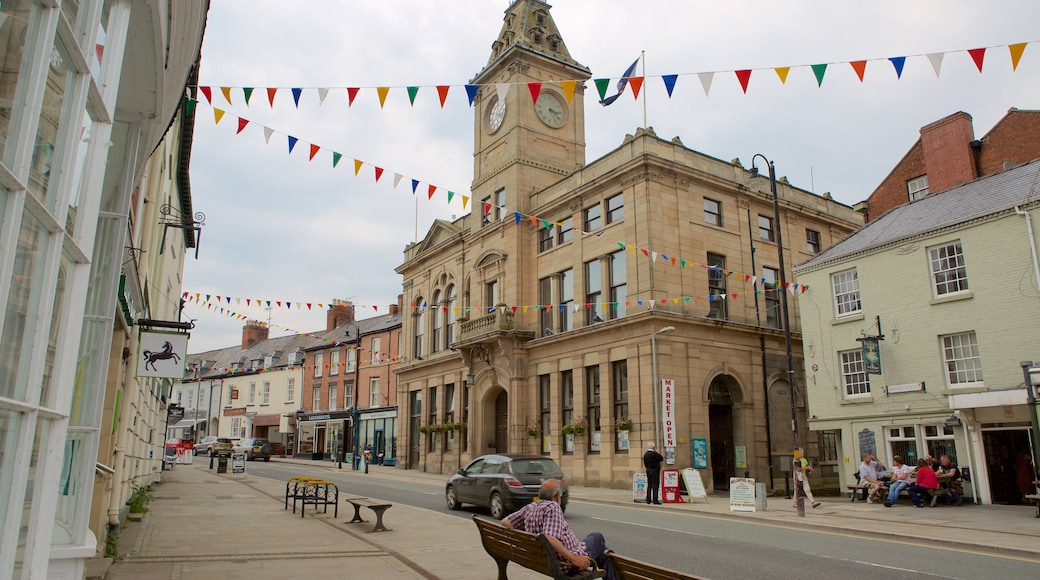 Welshpool featuring street scenes as well as an individual male