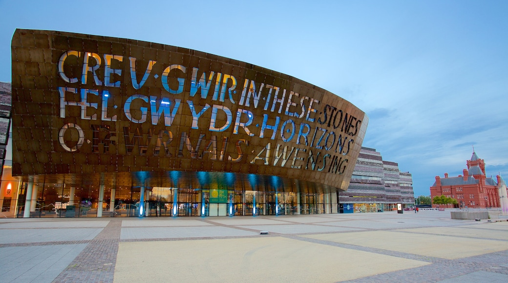 Wales Millennium Centre showing signage, modern architecture and street scenes