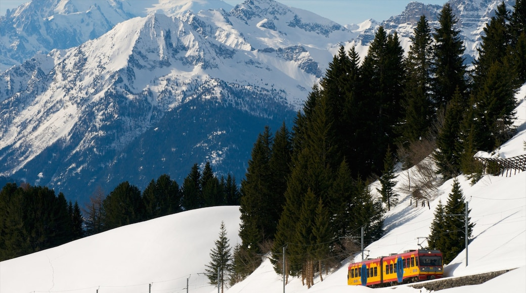 Villars showing mountains, railway items and snow