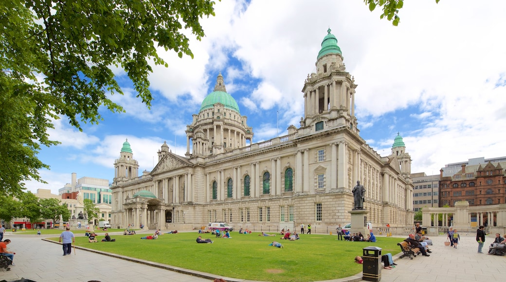 Belfast City Hall featuring a park, a castle and heritage architecture