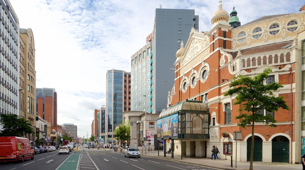 Grand Opera House which includes a city, theatre scenes and heritage architecture
