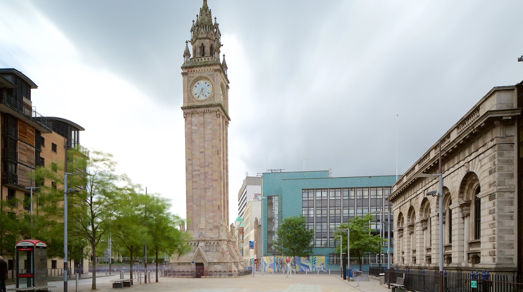 Albert Memorial Clock Tower which includes street scenes, a square or plaza and heritage architecture
