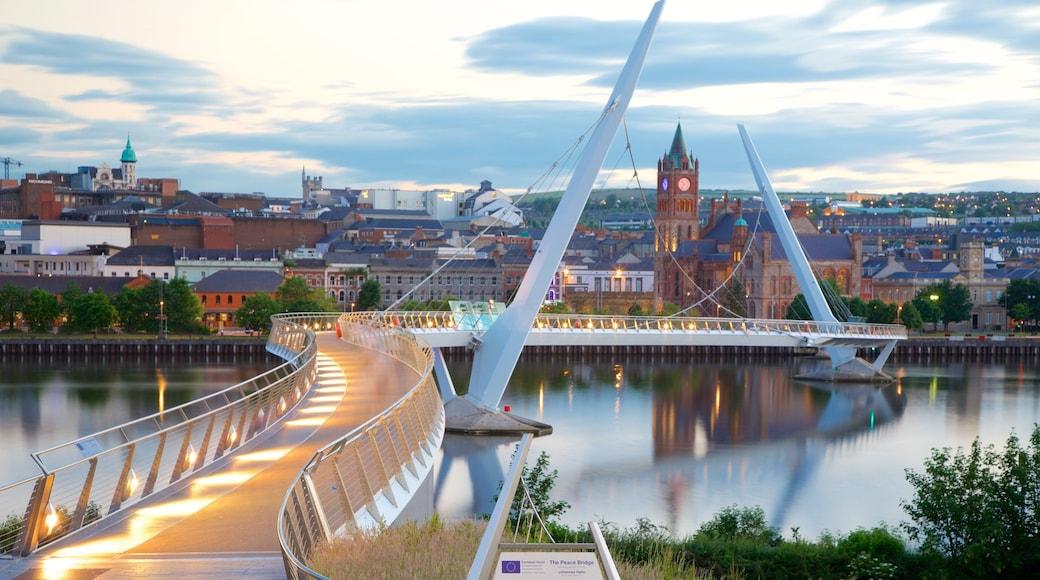 Peace Bridge featuring modern architecture, a bridge and a city