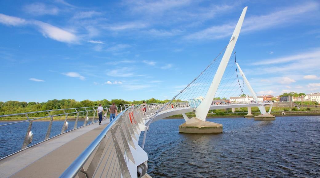 Peace Bridge showing a bridge, modern architecture and a river or creek