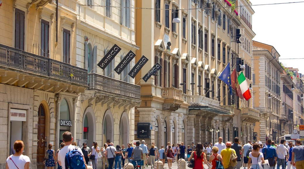Via del Corso featuring a city and street scenes as well as a large group of people