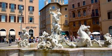 Centro histórico de Roma que incluye una plaza, una estatua o escultura y una fuente