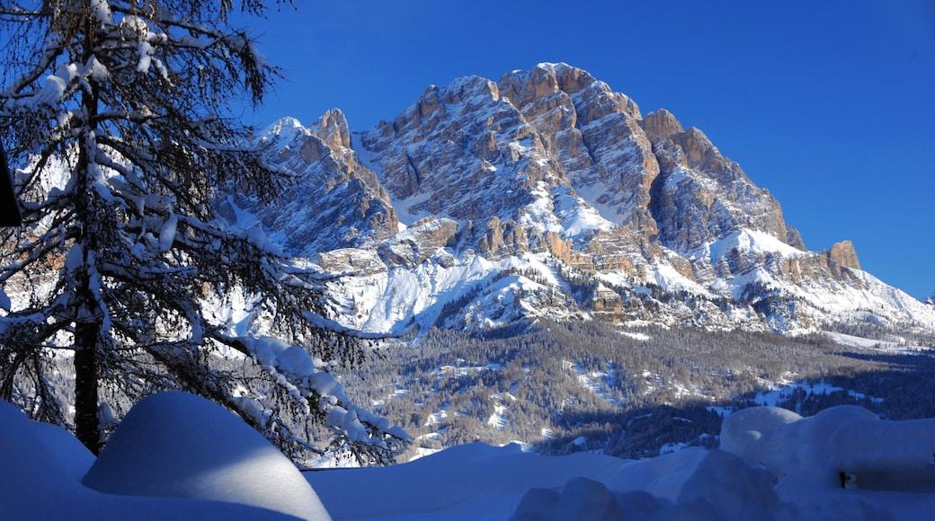 Wintersportort Cortina d\'Ampezzo mit einem Berge und Schnee