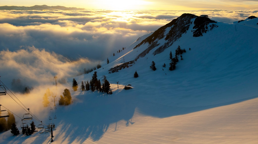 Squaw Valley Resort showing mountains, snow and a gondola