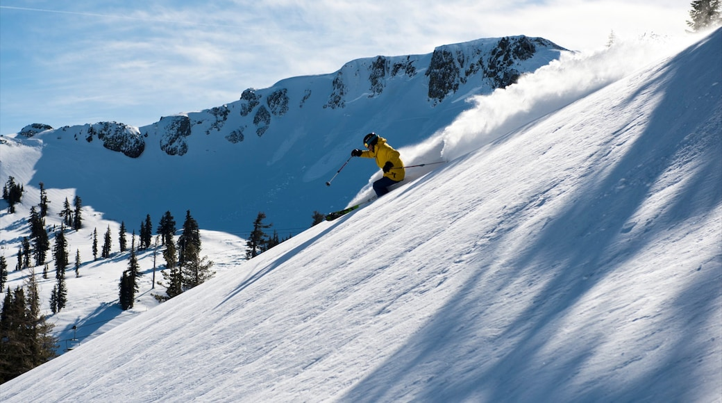 Squaw Valley Resort which includes snow skiing, snow and mountains