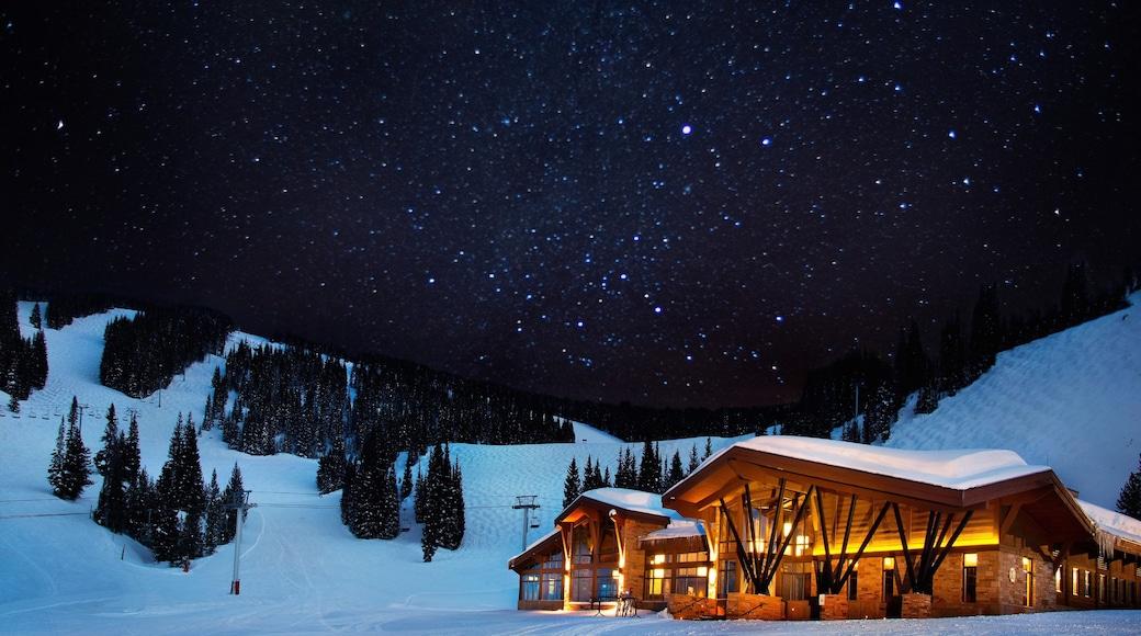 Vail Ski Resort ofreciendo un hotel de lujo o resort, escenas de noche y nieve