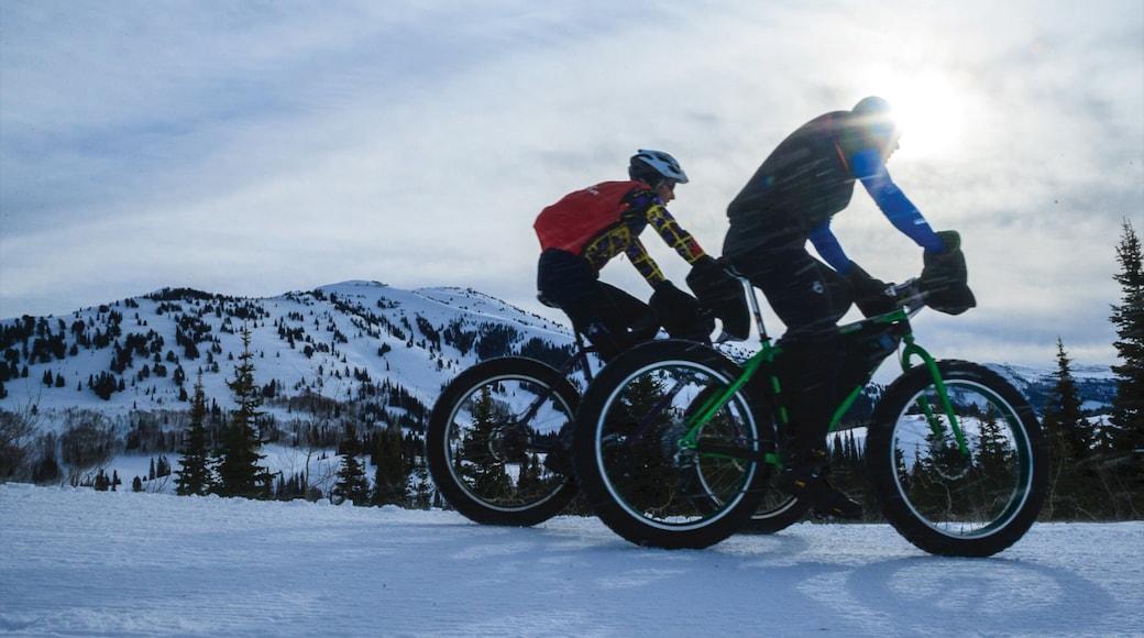 Grand Targhee Resort mit einem Mountainbiking und Schnee sowie Paar