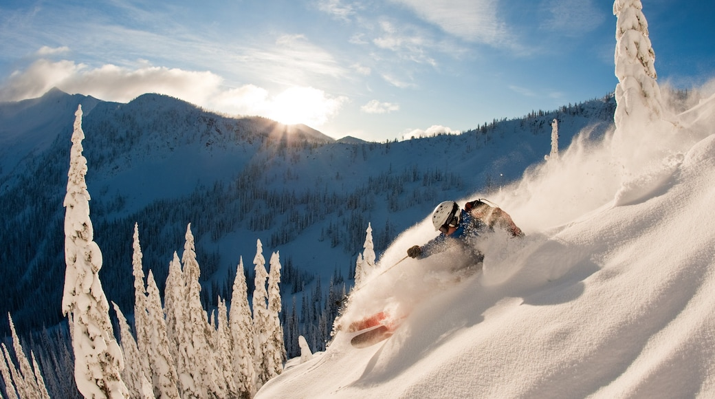 Whitewater Ski Resort showing snow skiing and snow as well as an individual male