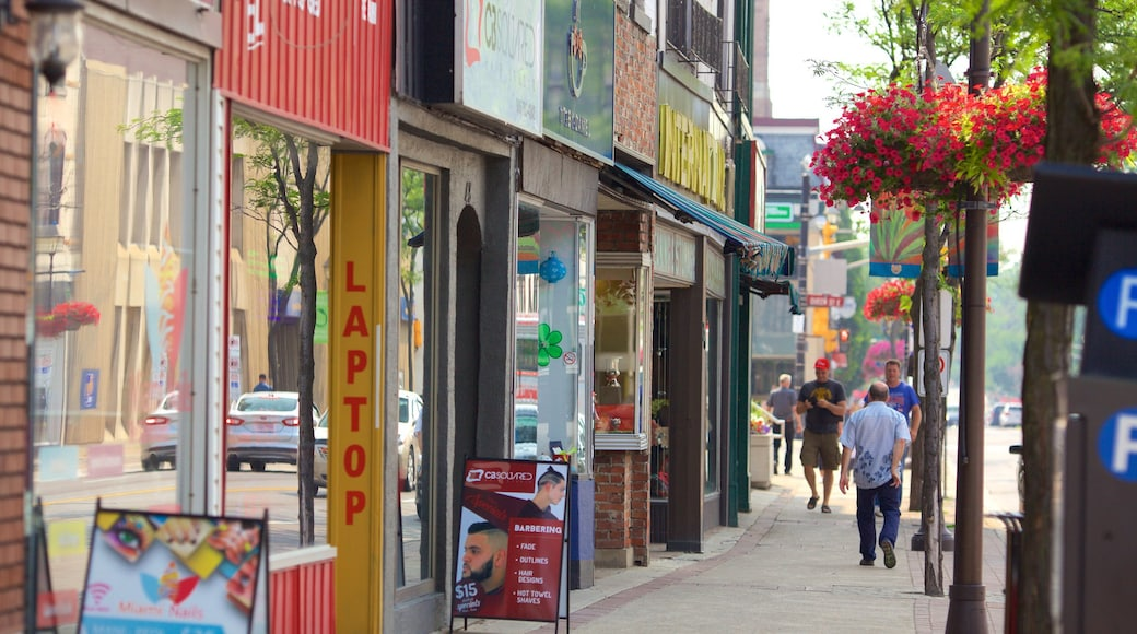 Brampton showing signage and street scenes as well as a small group of people