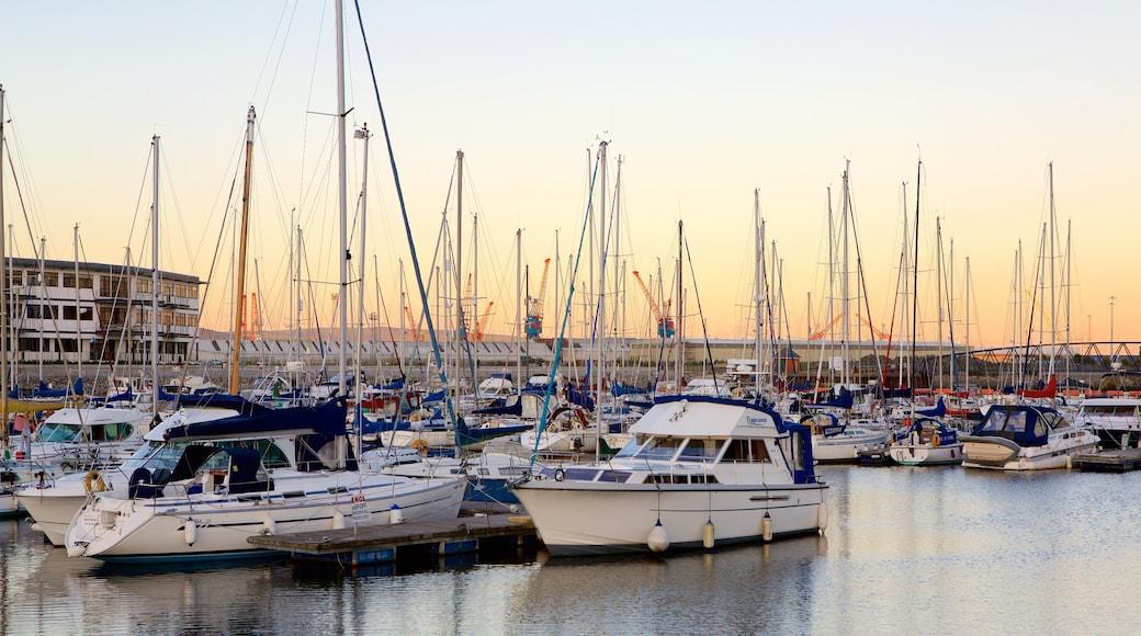 Swansea showing a marina, boating and general coastal views