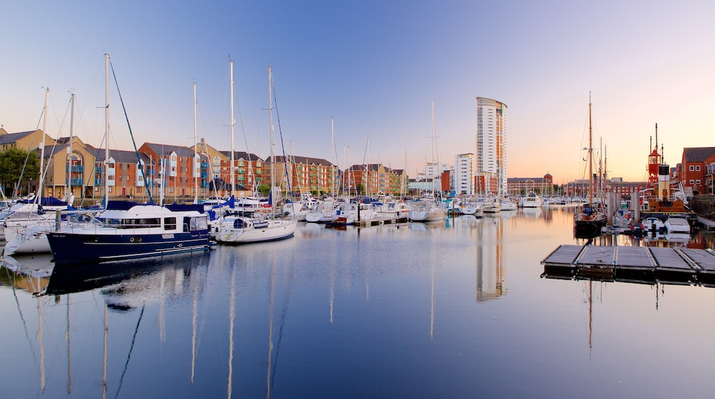 Swansea featuring a sunset, sailing and general coastal views