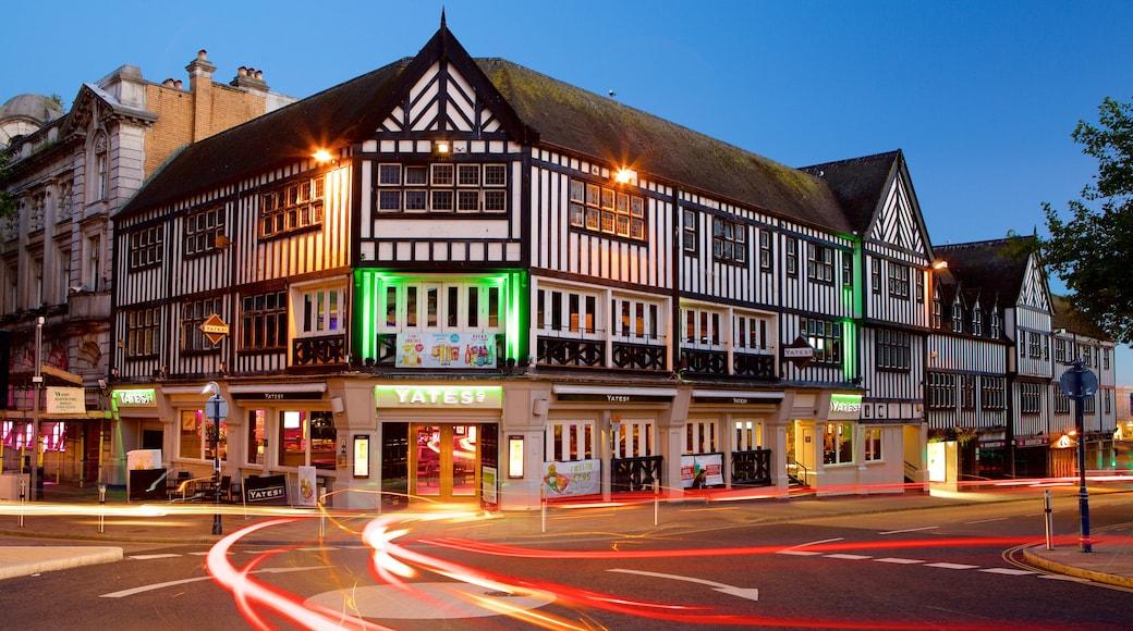 Swansea featuring street scenes and night scenes