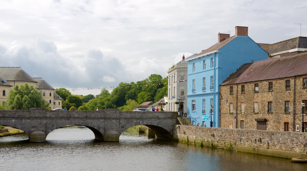 Haverfordwest showing a small town or village, a bridge and a river or creek