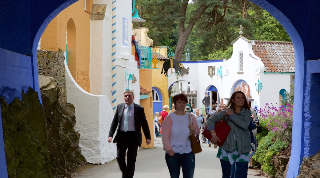 Portmeirion which includes a small town or village as well as a small group of people