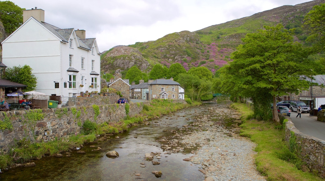 Beddgelert featuring a river or creek and a small town or village