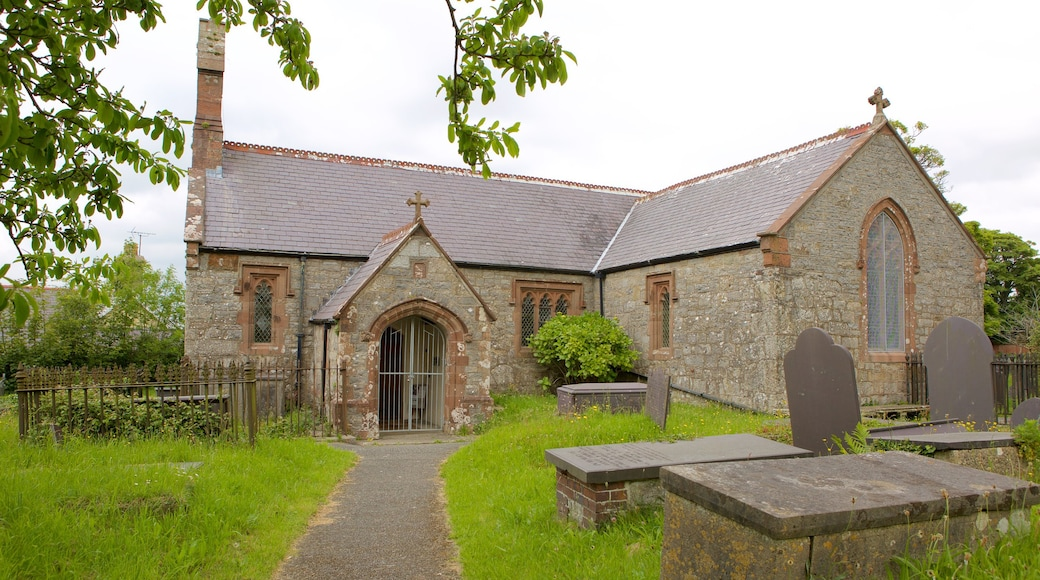 Pentraeth which includes a church or cathedral and a cemetery