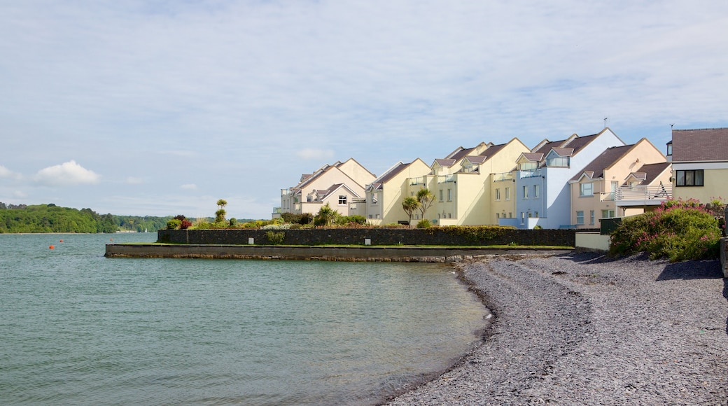 Y Felinheli showing a pebble beach and a small town or village