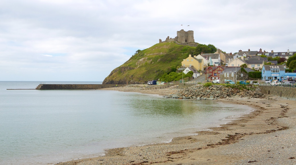 Criccieth Castle featuring a pebble beach, a small town or village and a bay or harbour