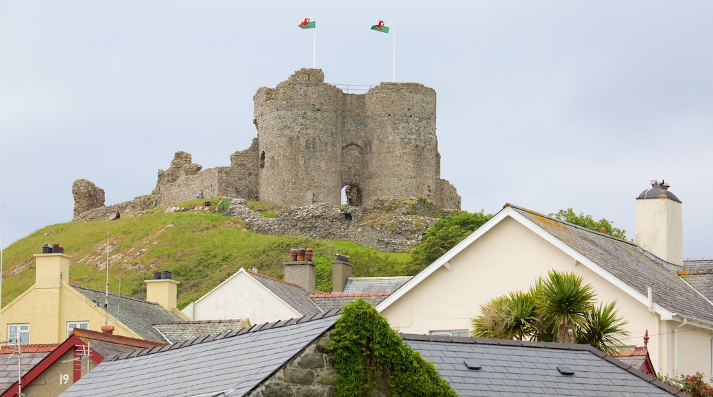 Criccieth Castle showing a ruin, a small town or village and château or palace