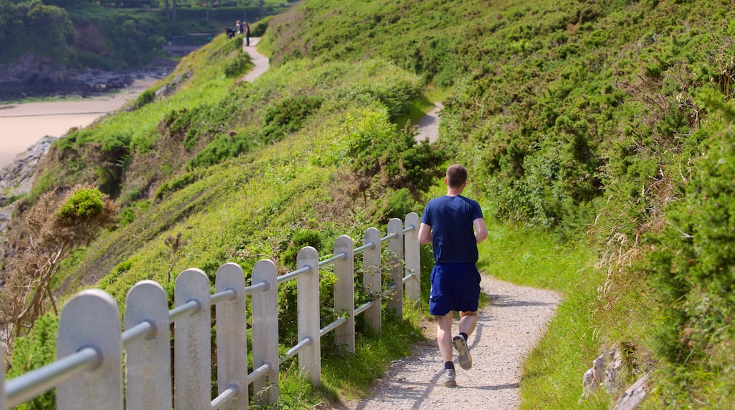 Caswell Bay Beach which includes hiking or walking as well as an individual male