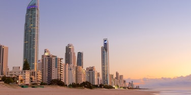 Surfers Paradise showing a sunset, a beach and a city