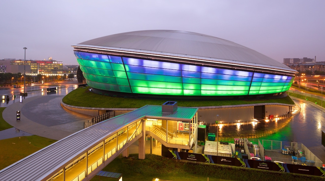 The SSE Hydro showing mist or fog and night scenes