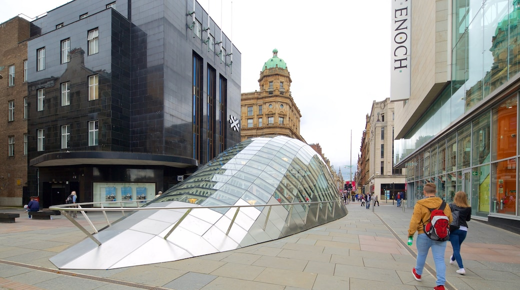 Buchanan Street featuring street scenes, a city and modern architecture